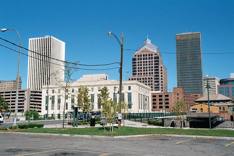 File:Rochester NY Court Street Bridge and Rundel Memorial Library 2001.jpg