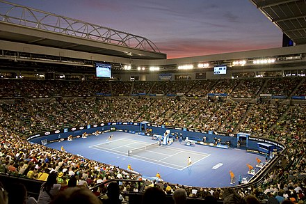 Rod Laver Arena where the Finals of the Australian Open take place Rod Laver Arena (8984015851).jpg
