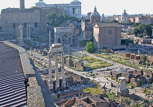Roman tribe - A view of the Roman Forum from the Palatine Hill.