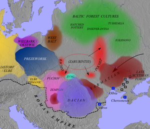 Poland in the Early Middle Ages - Central and East European cultures ca. 100 AD. The Zarubintsy culture is shown expanding into the Post-Zarubintsy horizon (red), the area where the Proto-Slavic people are thought to have formed.