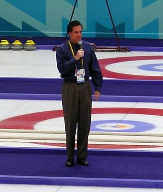Mitt Romney - Romney, as president and CEO of the Salt Lake Organizing Committee for the 2002 Winter Olympics, speaking before a curling match