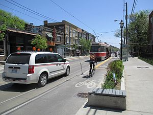 Roncesvalles Avenue - Bumpout on Roncesvalles Avenue serving as both a streetcar loading platform as well as a bicycle lane.