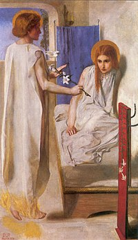 Dante Gabriel Rossetti: Ecce ancilla domini, (1850) Tate Gallery, Londres.