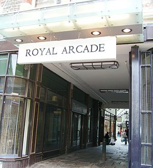 Royal Arcade, Cardiff - The entrance to the Royal Arcade, from The Hayes