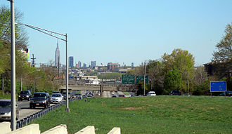 Mass Transit Super Bowl - Route 3, the main connector from the Lincoln Tunnel looking east to Manhattan
