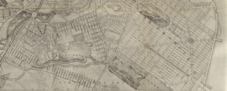 Bayview Park, San Francisco - Extract from Burnham's 1905 plan, showing University Mound Park and Visitacion Park along the southern edge of the City.