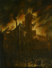 Fire in the Old City Hall of Amsterdam