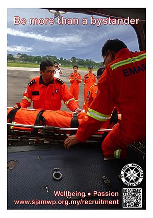 St. John Ambulance of Malaysia - A poster created for the 2012 recruitment campaign of SJAM Wilayah Persekutuan in Kuala Lumpur and Putrajaya, featuring the Emergency Medical Air Rescue Service