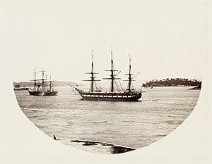 HMS Clio (1858) - Image: SLNSW 479644 141 HMS Clio at Anchor in Farm Cove