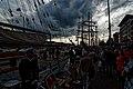 Sail Amsterdam - Javakade - View West along H.M.S. Falken towards Thor Heyerdahl & Pelican of London.jpg