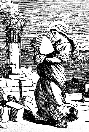 Euphrasia of Constantinople - Euphrasia carried heavy rocks as a penitential labor. From an 1878 book, Little Pictorial Lives of the Saints