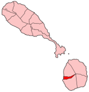 Charlestown, Nevis - The red segment on the island of Nevis shows the parish in which Charlestown is situated