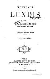 Nouveaux lundis. Tome 3 - Charles-Augustin Sainte-Beuve