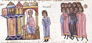Parakoimomenos - Miniature from the Madrid Skylitzes, showing Samonas inciting Emperor Leo VI against Andronikos Doukas