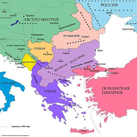 Карта Болгарии по договору в Сан-Стефано