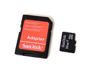 Memory card - A 32GB SanDisk memory card with adapter