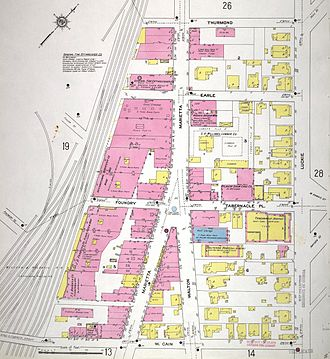 Centennial Park District - 1911 map of the area. Thurmond is now Baker. Tabernacle is now Foundry. Cain is now Andrew Young Intl. Blvd.