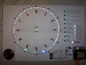 Charlieplexing - A Charlieplexed digital clock which controls 90 LEDs with 10 pins of a PIC16C54 microcontroller.