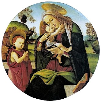 São Paulo Museum of Art - Sandro Botticelli (Italian, 1445–1510). Virgin and Child with the Infant St. John the Baptist, 1490/1500. Tempera on panel, diameter 74 cm.