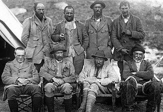 George Mallory - 1921 Everest Expedition. Mallory at right on rear row; Bullock at left on rear row