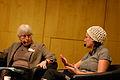 Sara Stridsberg, vinnare av Nordiska radets litteraturpris 2007 och moderator Immi Lundin pa seminariet forfattaren i boken, pa bokmassan i Goteborg, 2007-09-29.jpg