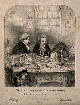 Ladies of Llangollen - Sarah Ponsonby and Lady Eleanor Butler in their library