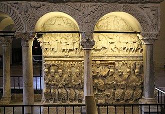 Sarcophagus of Stilicho - Image: Sarcofago detto di stilicone, IV secolo, gesù tra gli apostoli 01