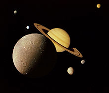 Saturn wikipedia a montage of saturn and its principal moons dione tethys mimas enceladus rhea and titan iapetus not shown this famous image was created from altavistaventures Images