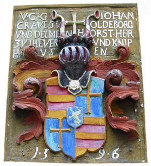 John VII, Count of Oldenburg - Relief with coat of arms of Count John VII at Schloss Neuenburg.