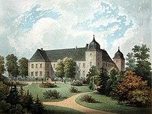 Schloss Straußfurt (1735 erbaut) um 1860 (Quelle: Wikimedia)