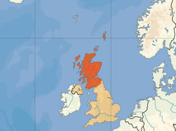 Location o  Scotland  (orange)in the Unitit Kinrick  (camel)