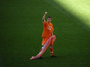 Séamus Coleman - Coleman celebrating promotion with Blackpool in 2010