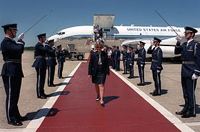 Secretary Widnall arrives at Hanscom AFB.JPEG