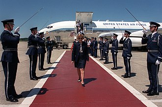 66th Air Base Wing - Secretary Widnall arrives at Hanscom AFB