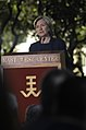 Secretary of State Hillary Rodham Clinton delivers an address on the United States' vision for Asia-Pacific multilateral engagement to an audience consisting of Japanese Foreign Minister Katsuya Okada 100112-F-LX971-446.jpg