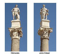Columnas con las estatuas de Hércules y Julio César en la Alameda de Hércules.