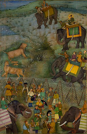 Burhanpur - The Mughal Emperor Shah Jahan hunting wild lions in Burhanpur (July 1630)
