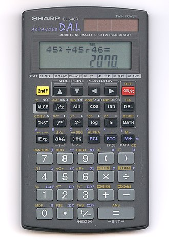 Calculator input methods - A Sharp scientific calculator using infix notation. Note the formula on the dot-matrix line above and the answer on the seven-segment line below, as well as the arrow keys allowing the entry to be reviewed and edited.