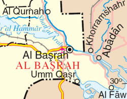 South-East Iraq with Al-Faw in the lower right corner of the map