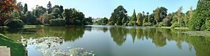 Sheffield Park Garden - Panorama looking over '10-Foot Pond' towards Sheffield Park House