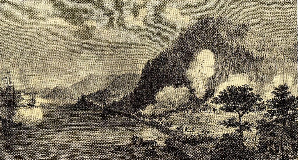 Franceses bombardeando Shimonoseki.