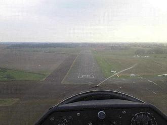 RAF Shipdham - Final approach on NE-SW runway, September 2008.