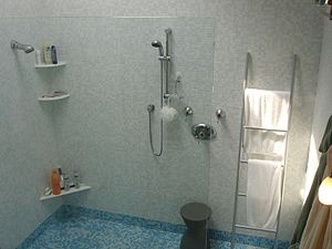 Shower integrated in bathroom. The shower is s...