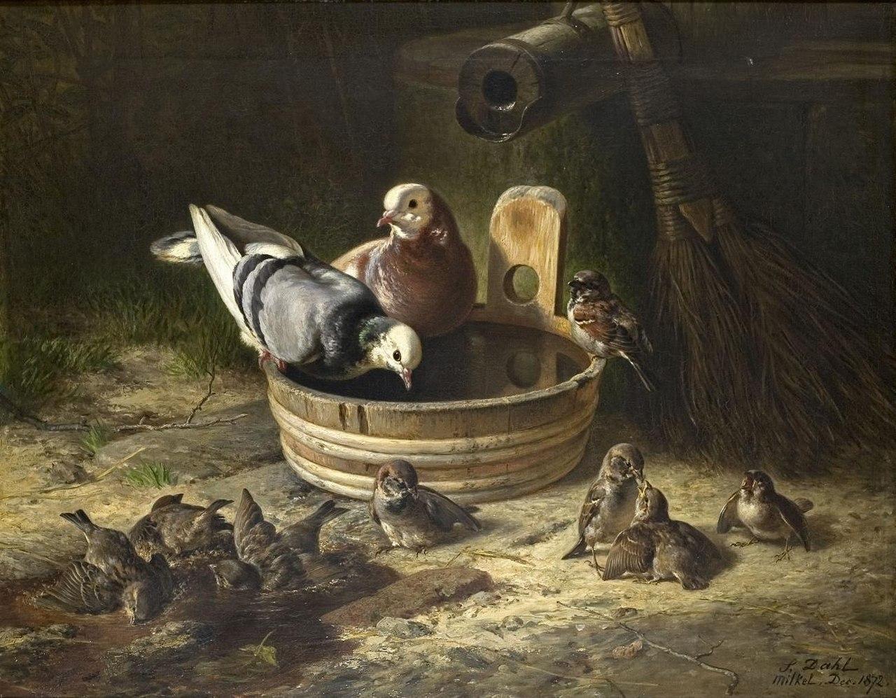 Siegwald Dahl - Tauben und Spatzen an der Tränke (1872).jpg