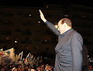 Italian general election, 2008 - Silvio Berlusconi during a People of Freedom rally in 2008.