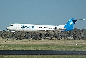 Skywest Airlines Fokker 100 CBR Gilbert.jpg