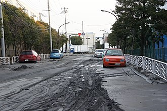 2011 Tōhoku earthquake and tsunami - Soil liquefaction in Kōtō, Tokyo