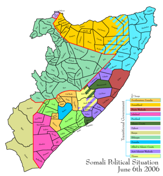 Advance of the Islamic Courts Union - Map depicting the political situation in Somalia on June 6, 2006
