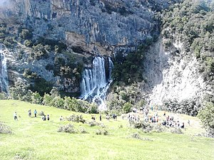 Gramsh - Sotira Waterfall from a distance