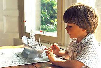 Revell - A young boy paints a Revell model of the South Goodwin Lightship.